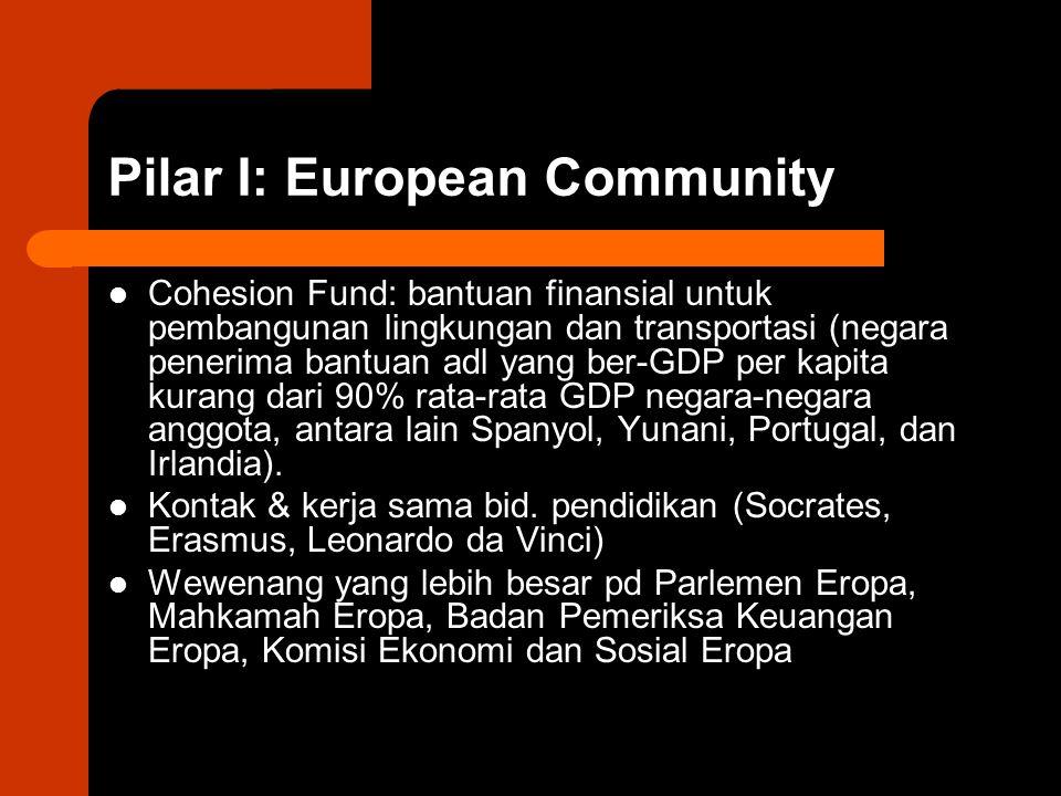 Pilar I: European Community Cohesion Fund: bantuan finansial untuk pembangunan lingkungan dan transportasi (negara penerima bantuan adl yang ber-GDP per kapita kurang dari 90% rata-rata GDP negara-negara anggota, antara lain Spanyol, Yunani, Portugal, dan Irlandia).