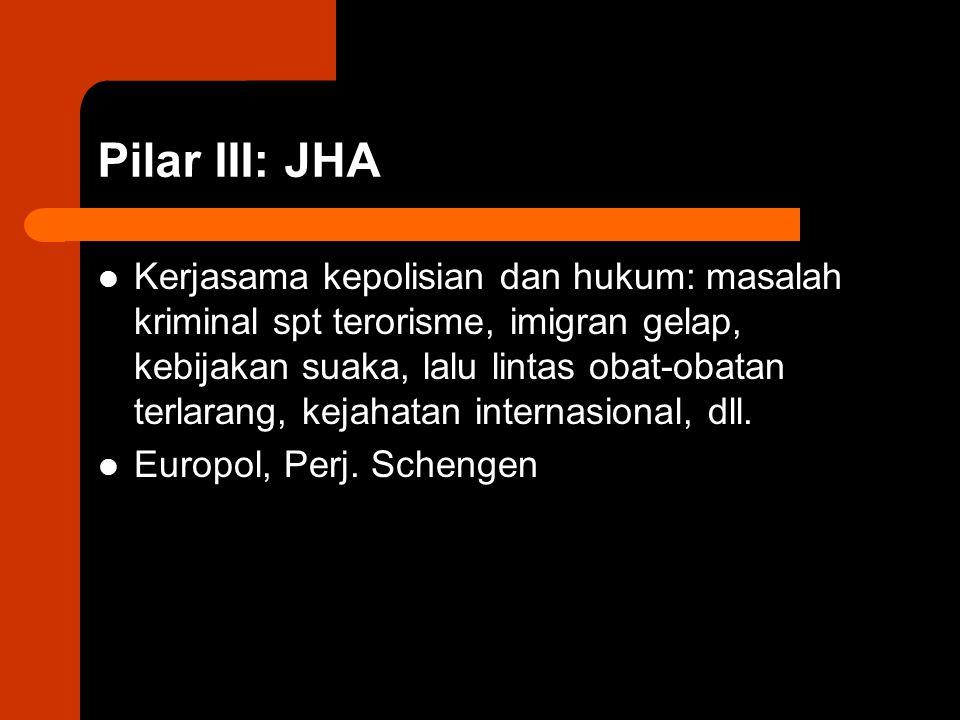 Pilar III: JHA Kerjasama kepolisian dan hukum: masalah kriminal spt terorisme, imigran gelap, kebijakan suaka, lalu lintas obat-obatan terlarang, kejahatan internasional, dll.