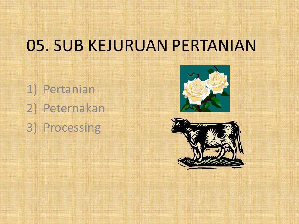 05. SUB KEJURUAN PERTANIAN 1)Pertanian 2)Peternakan 3)Processing