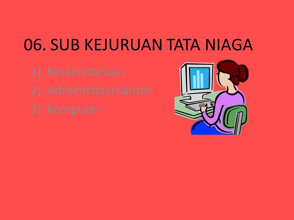 06. SUB KEJURUAN TATA NIAGA 1)Kesekretarisan 2)Administrasi Kantor 3)Komputer