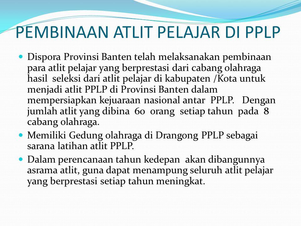 PEMBINAAN ATLIT PELAJAR DI PPLP Dispora Provinsi Banten telah melaksanakan pembinaan para atlit pelajar yang berprestasi dari cabang olahraga hasil seleksi dari atlit pelajar di kabupaten /Kota untuk menjadi atlit PPLP di Provinsi Banten dalam mempersiapkan kejuaraan nasional antar PPLP.
