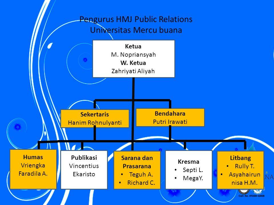 Pengurus HMJ Public Relations Universitas Mercu buana Ketua M.