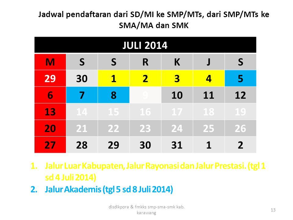 Jadwal pendaftaran dari SD/MI ke SMP/MTs, dari SMP/MTs ke SMA/MA dan SMK disdikpora & fmkks smp-sma-smk kab. karawang 13 JULI 2014 MSSRKJS 293012345 6