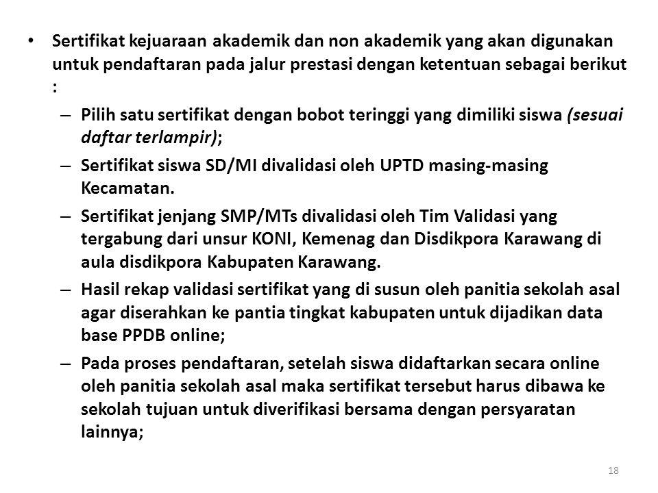 Sertifikat kejuaraan akademik dan non akademik yang akan digunakan untuk pendaftaran pada jalur prestasi dengan ketentuan sebagai berikut : – Pilih sa