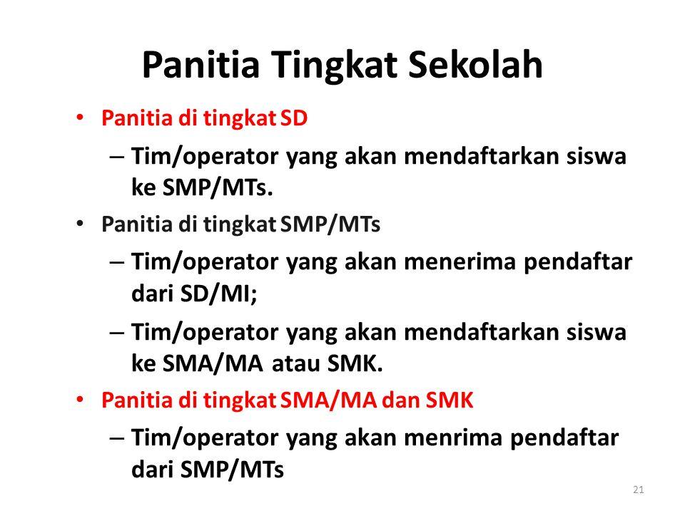 Panitia Tingkat Sekolah Panitia di tingkat SD – Tim/operator yang akan mendaftarkan siswa ke SMP/MTs. Panitia di tingkat SMP/MTs – Tim/operator yang a