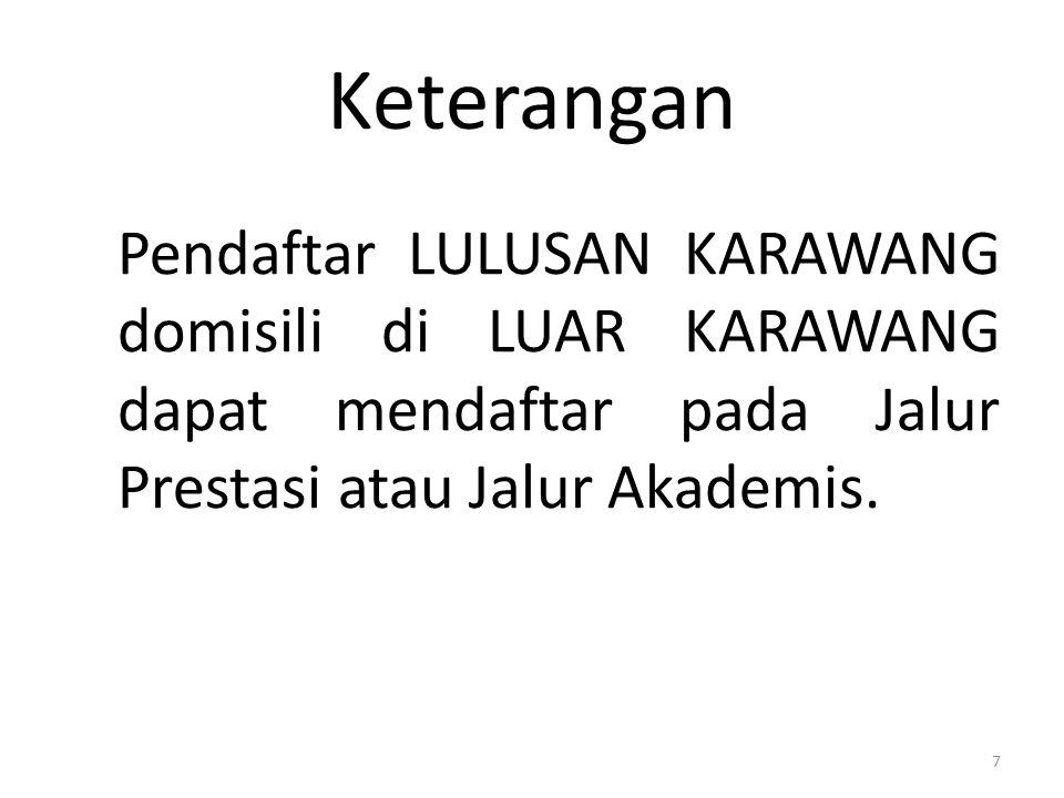 Keterangan Pendaftar LULUSAN KARAWANG domisili di LUAR KARAWANG dapat mendaftar pada Jalur Prestasi atau Jalur Akademis. 7