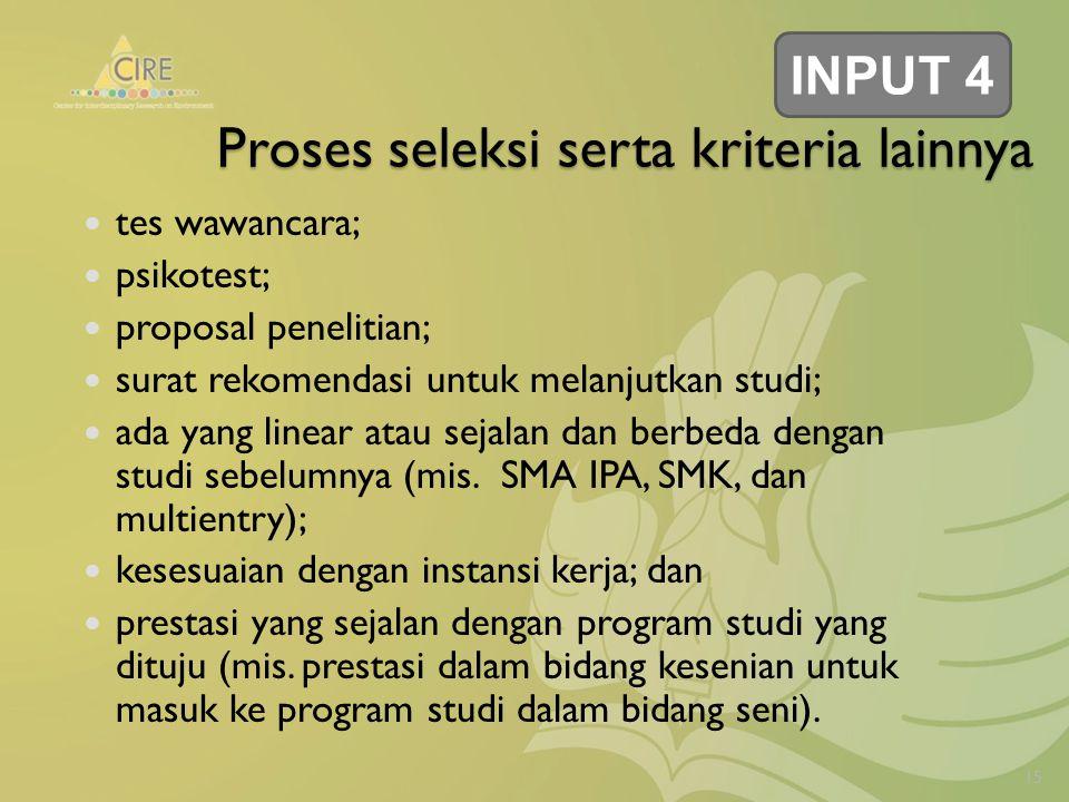 Proses seleksi serta kriteria lainnya tes wawancara; psikotest; proposal penelitian; surat rekomendasi untuk melanjutkan studi; ada yang linear atau sejalan dan berbeda dengan studi sebelumnya (mis.