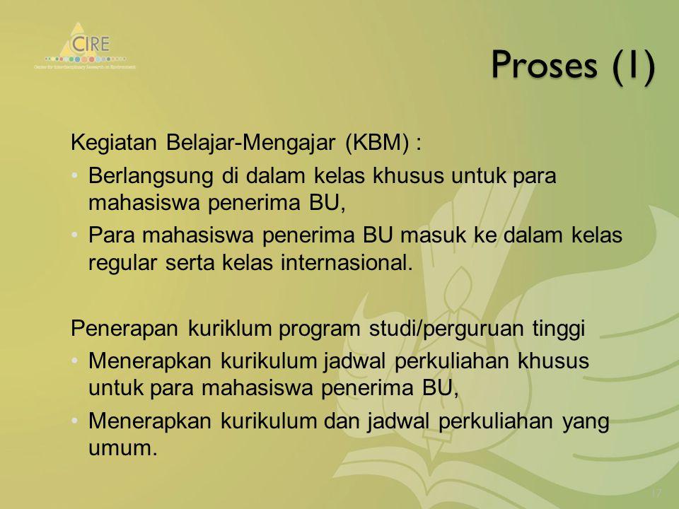 Proses (1) Kegiatan Belajar-Mengajar (KBM) : Berlangsung di dalam kelas khusus untuk para mahasiswa penerima BU, Para mahasiswa penerima BU masuk ke dalam kelas regular serta kelas internasional.