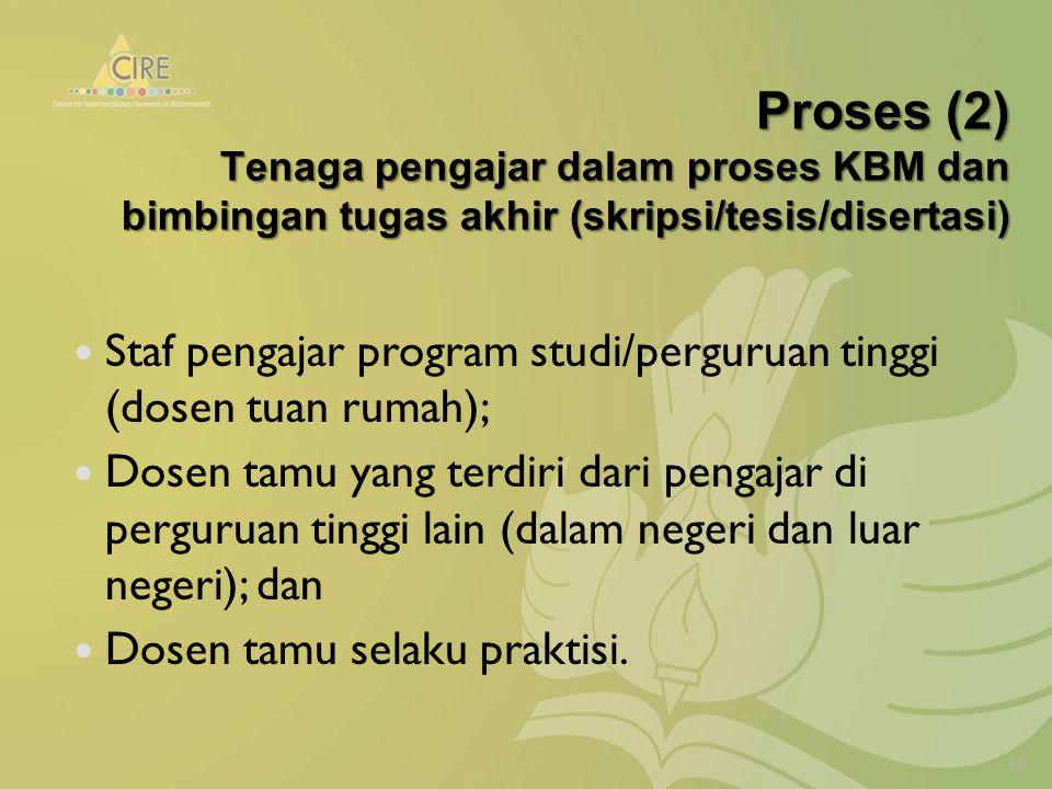 Proses (2) Tenaga pengajar dalam proses KBM dan bimbingan tugas akhir (skripsi/tesis/disertasi) Staf pengajar program studi/perguruan tinggi (dosen tuan rumah); Dosen tamu yang terdiri dari pengajar di perguruan tinggi lain (dalam negeri dan luar negeri); dan Dosen tamu selaku praktisi.
