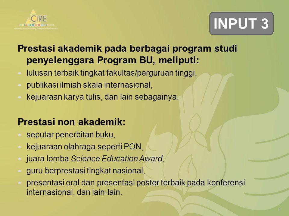 Prestasi akademik pada berbagai program studi penyelenggara Program BU, meliputi: lulusan terbaik tingkat fakultas/perguruan tinggi, publikasi ilmiah skala internasional, kejuaraan karya tulis, dan lain sebagainya.