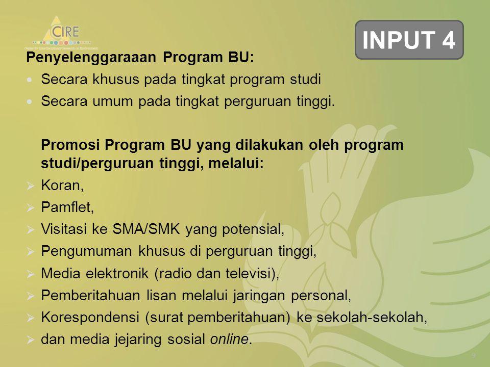 Penyelenggaraaan Program BU: Secara khusus pada tingkat program studi Secara umum pada tingkat perguruan tinggi.
