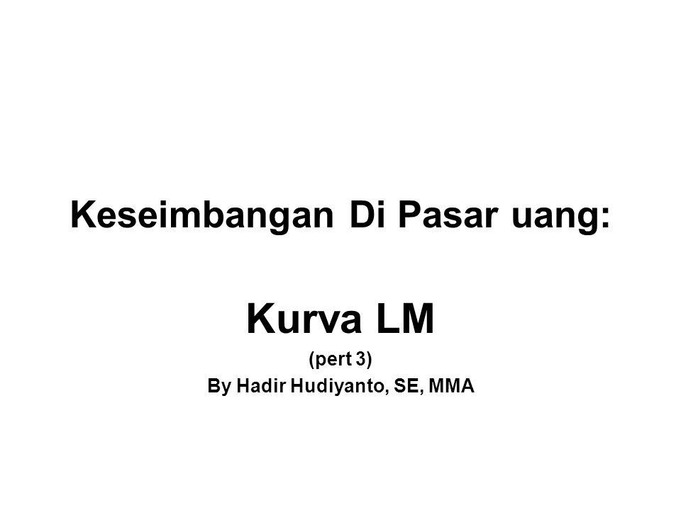 Keseimbangan Di Pasar uang: Kurva LM (pert 3) By Hadir Hudiyanto, SE, MMA