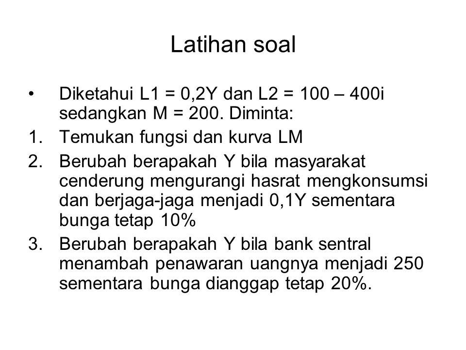 Latihan soal Diketahui L1 = 0,2Y dan L2 = 100 – 400i sedangkan M = 200. Diminta: 1.Temukan fungsi dan kurva LM 2.Berubah berapakah Y bila masyarakat c