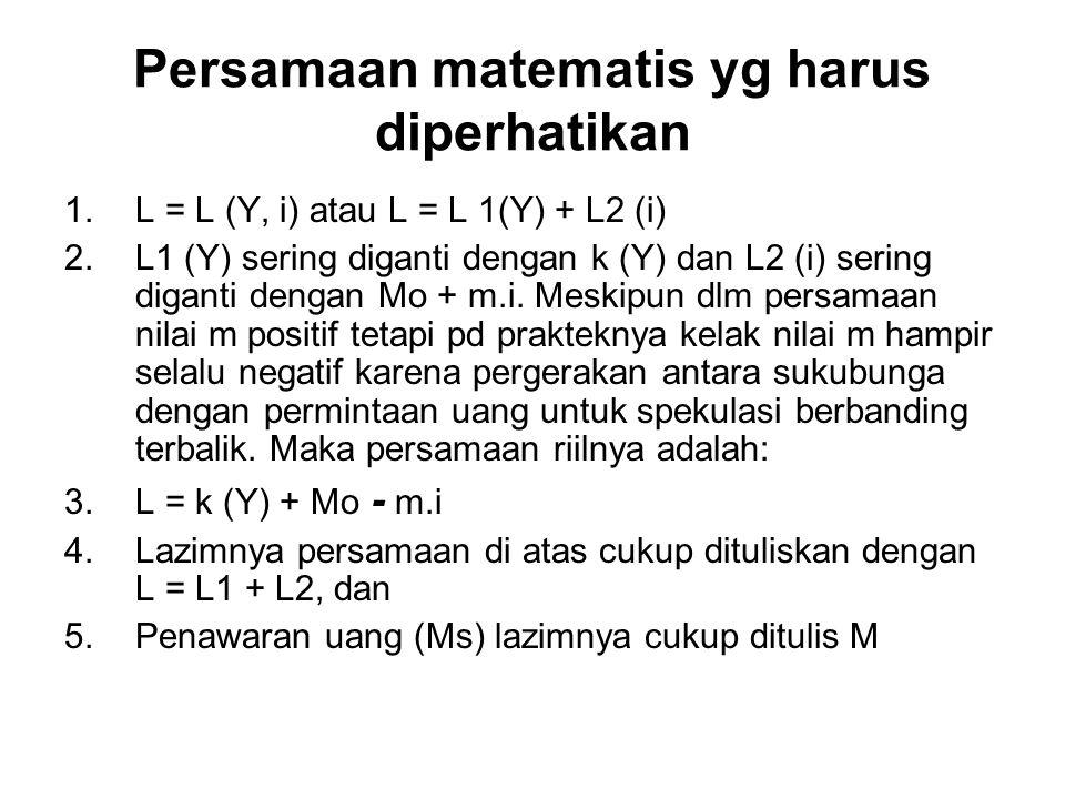 Persamaan matematis yg harus diperhatikan 1.L = L (Y, i) atau L = L 1(Y) + L2 (i) 2.L1 (Y) sering diganti dengan k (Y) dan L2 (i) sering diganti denga