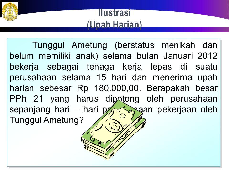 Penghitungan Teknis (Upah Harian, Satuan, Borongan) Upah Harian/ Upah Hasil Konversi Penghasilan kumulatif per bulan < Rp 1.320.000,00 Penghasilan har