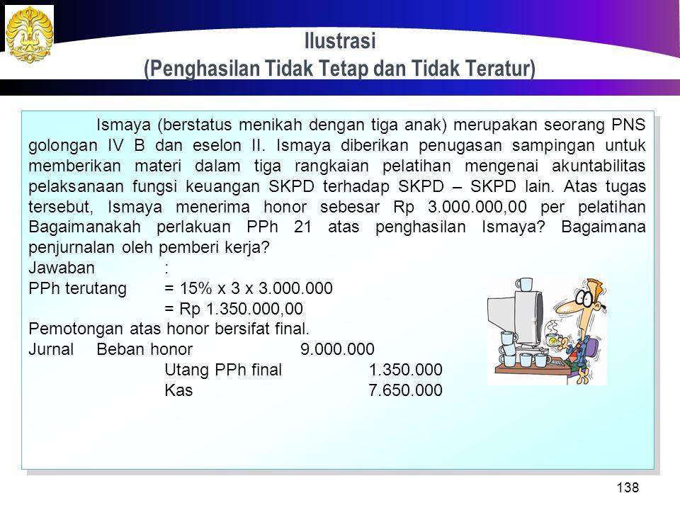 Ilustrasi (Penghasilan Tetap dan Teratur) 137 Jawaban: Jurnal Pemberi Kerja Beban Gaji2.750.000 Beban tunjangan2.160.000 Utang Dana Pensiun 130.625 Ut