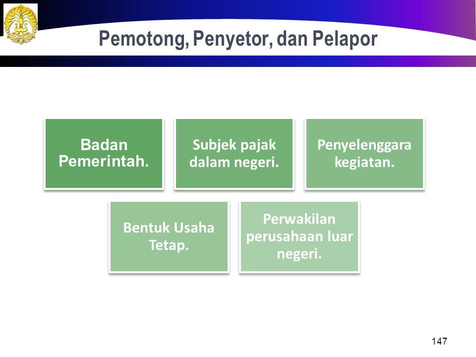 Definisi 146 Pajak yang dikenakan atas penghasilan berasal dari Indonesia yang diterima atau diperoleh WP luar negeri selain BUT. Subjek PPh 26 dapat