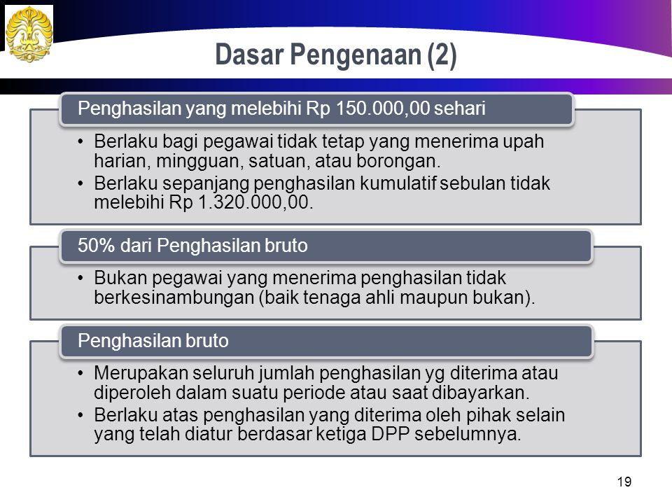 Dasar Pengenaan (1) Berlaku PKP = Penghasilan netto - PTKP Pegawai tetap. Penerima pensiun berkala Berlaku PKP = Penghasilan bruto - PTKP Pegawai tida