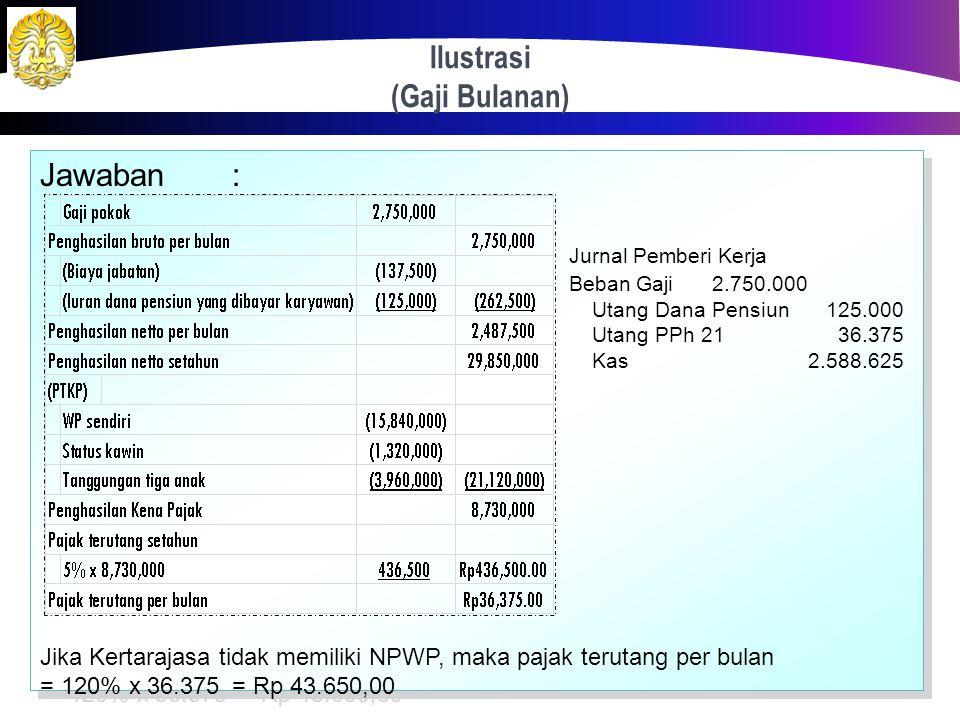 Ilustrasi (Gaji Bulanan) 27 Kertarajasa pada tahun 2012 bekerja pada sebuah perusahaan manufaktur alutsista dengan memperoleh gaji sebulan Rp 2.750.00