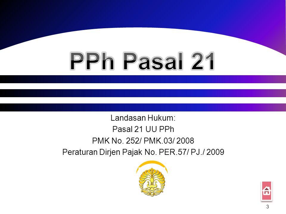 3 Landasan Hukum: Pasal 21 UU PPh PMK No.252/ PMK.03/ 2008 Peraturan Dirjen Pajak No.