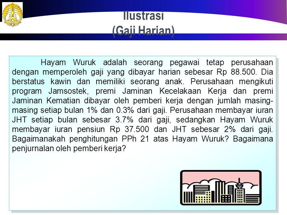 Ilustrasi (Gaji Bulanan) 30 Jawaban: Jurnal Pemberi Kerja Beban Gaji4.000.000 Beban JKK 20.000 Beban JKM 12.000 Beban JHT 148.000 Beban Dapen 110.000