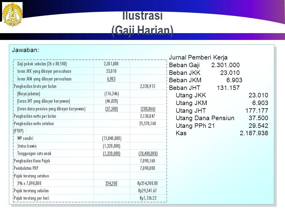 Ilustrasi (Gaji Harian) 31 Hayam Wuruk adalah seorang pegawai tetap perusahaan dengan memperoleh gaji yang dibayar harian sebesar Rp 88.500. Dia berst