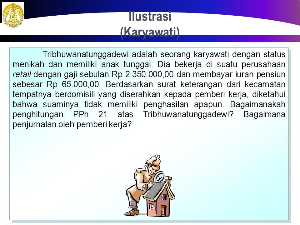 "Penghasilan Karyawati 33 Atas suami yang berstatus memiliki penghasilan, karyawati tidak berhak atas pengurangan elemen PTKP ""Status Kawin"" sebesar Rp"