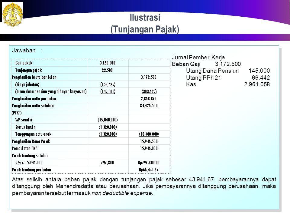 Ilustrasi (Tunjangan Pajak) 36 Mahendradatta selama tahun 2012 bekerja pada suatu perusahaan dengan memperoleh gaji sebulan Rp 3.150.000,00 dan membay