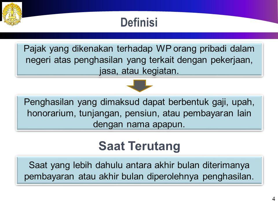 Definisi 4 Pajak yang dikenakan terhadap WP orang pribadi dalam negeri atas penghasilan yang terkait dengan pekerjaan, jasa, atau kegiatan.