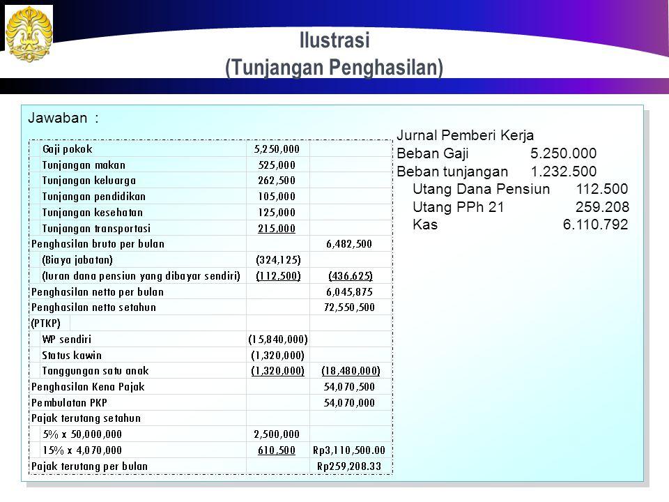 Ilustrasi (Tunjangan Penghasilan) 40 Ranggalawe (menikah dengan satu anak) merupakan seorang pegawai tetap perusahaan yang menerima gaji pokok sebesar