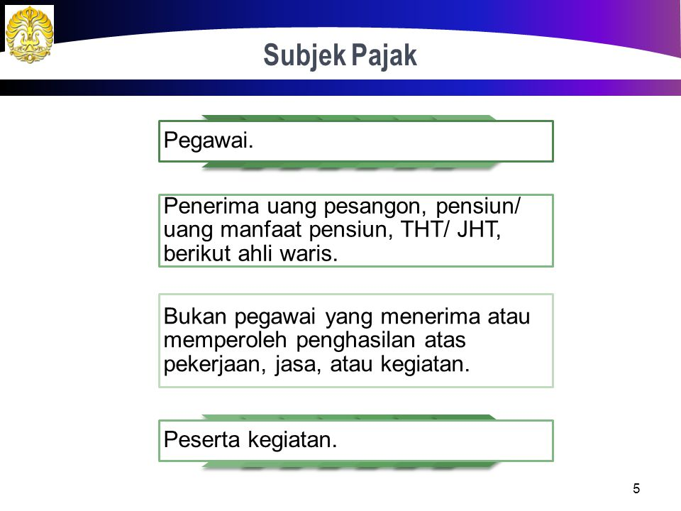 Definisi 4 Pajak yang dikenakan terhadap WP orang pribadi dalam negeri atas penghasilan yang terkait dengan pekerjaan, jasa, atau kegiatan. Penghasila