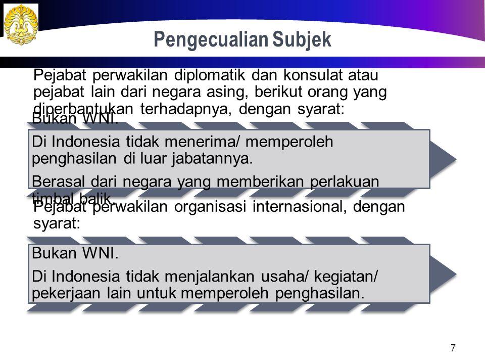 Pengecualian Subjek Pejabat perwakilan diplomatik dan konsulat atau pejabat lain dari negara asing, berikut orang yang diperbantukan terhadapnya, dengan syarat: Bukan WNI.