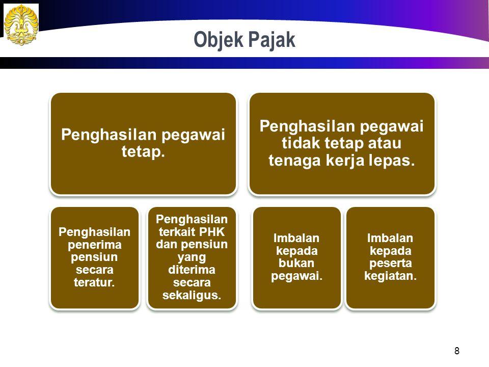 Objek Pajak 8 Penghasilan pegawai tetap.Penghasilan penerima pensiun secara teratur.