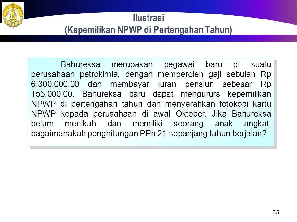 Kepemilikan NPWP di Pertengahan Tahun 84 Penghitungan kembali PPh terutang dilakukan setelah WP menyerahkan fotokopi kartu NPWP kepada pemberi kerja.