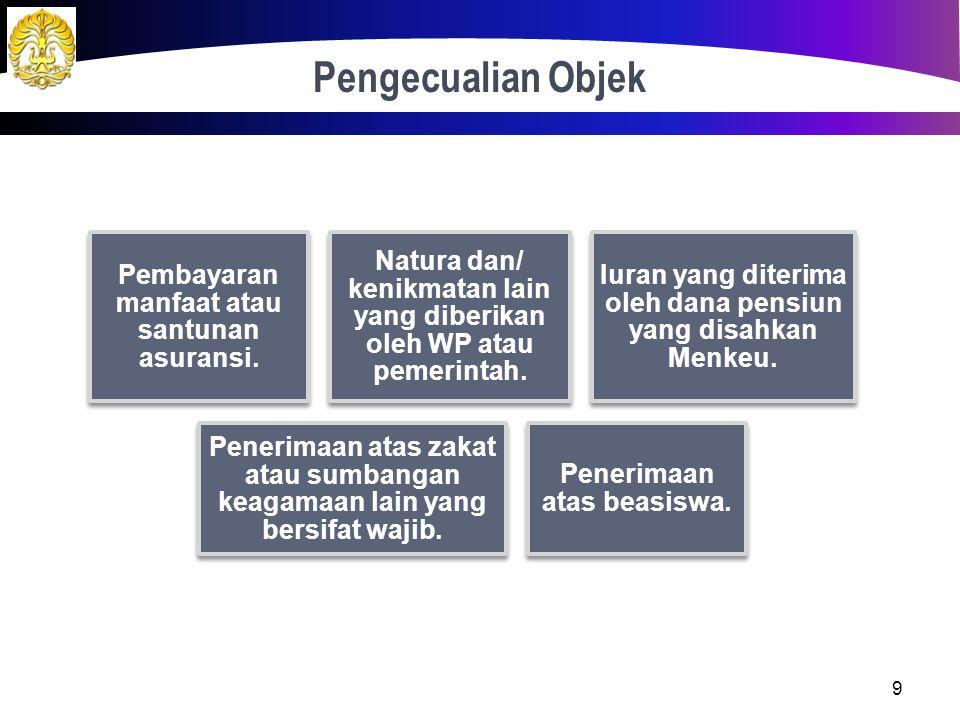Objek Pajak 8 Penghasilan pegawai tetap. Penghasilan penerima pensiun secara teratur. Penghasilan terkait PHK dan pensiun yang diterima secara sekalig