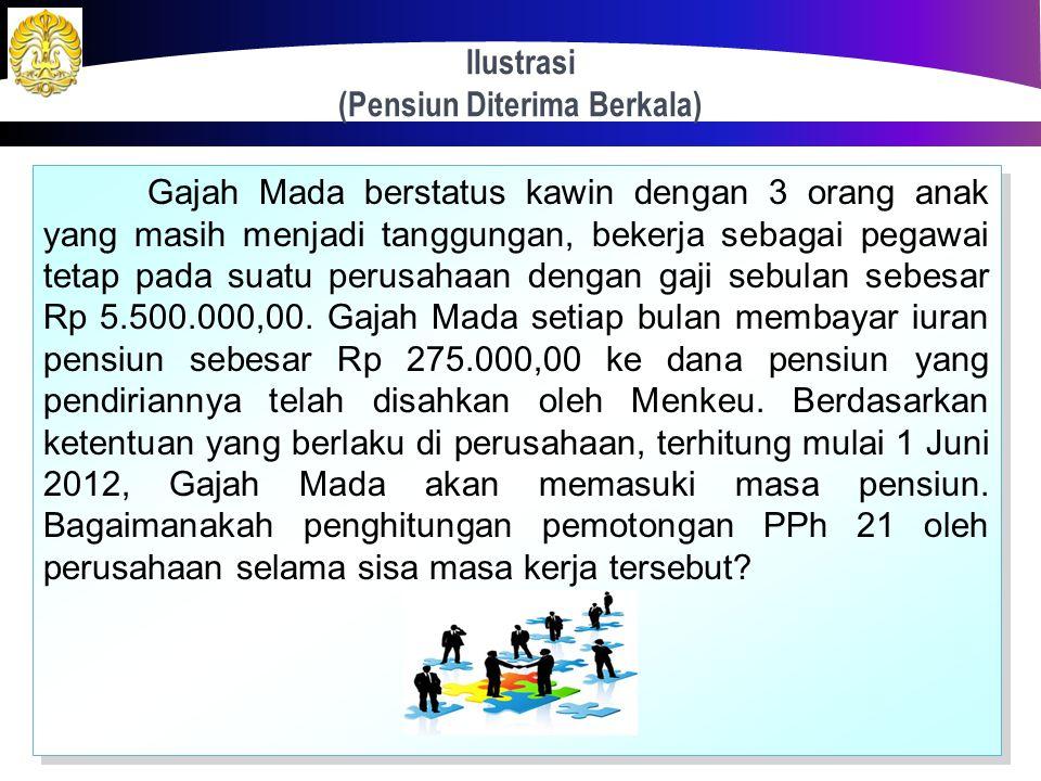 Pensiun Diterima Berkala 96 Bila waktu pensiun sudah dapat diketahui dengan pasti pada awal tahun. PPh terutang dihitung berdasarkan PKP yang akan dip