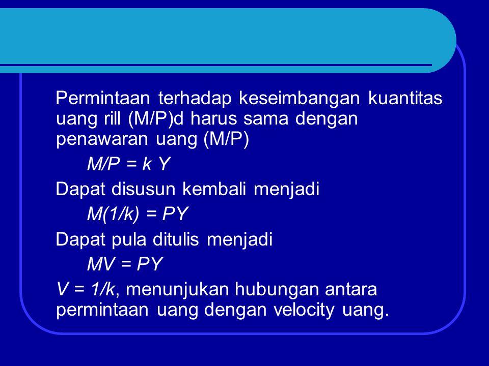Permintaan terhadap keseimbangan kuantitas uang rill (M/P)d harus sama dengan penawaran uang (M/P) M/P = k Y Dapat disusun kembali menjadi M(1/k) = PY