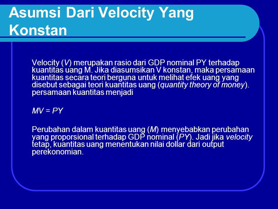 Asumsi Dari Velocity Yang Konstan Velocity (V) merupakan rasio dari GDP nominal PY terhadap kuantitas uang M. Jika diasumsikan V konstan, maka persama