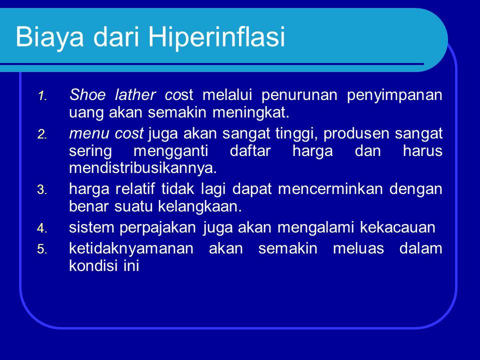 Biaya dari Hiperinflasi 1. Shoe lather cost melalui penurunan penyimpanan uang akan semakin meningkat. 2. menu cost juga akan sangat tinggi, produsen