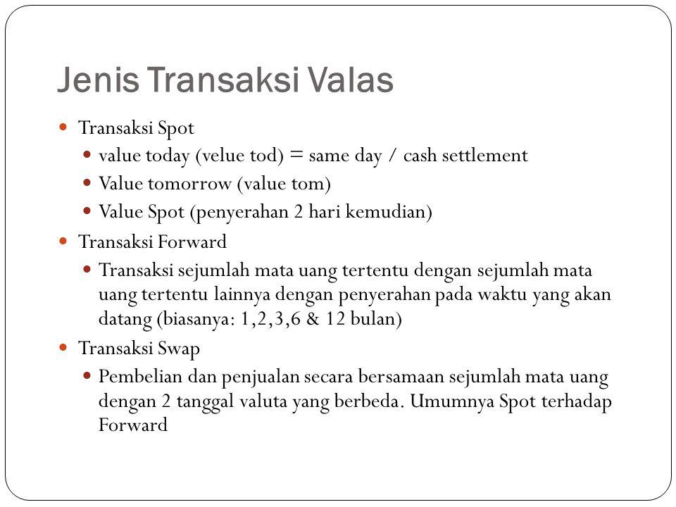 Jenis Transaksi Valas Transaksi Spot value today (velue tod) = same day / cash settlement Value tomorrow (value tom) Value Spot (penyerahan 2 hari kemudian) Transaksi Forward Transaksi sejumlah mata uang tertentu dengan sejumlah mata uang tertentu lainnya dengan penyerahan pada waktu yang akan datang (biasanya: 1,2,3,6 & 12 bulan) Transaksi Swap Pembelian dan penjualan secara bersamaan sejumlah mata uang dengan 2 tanggal valuta yang berbeda.