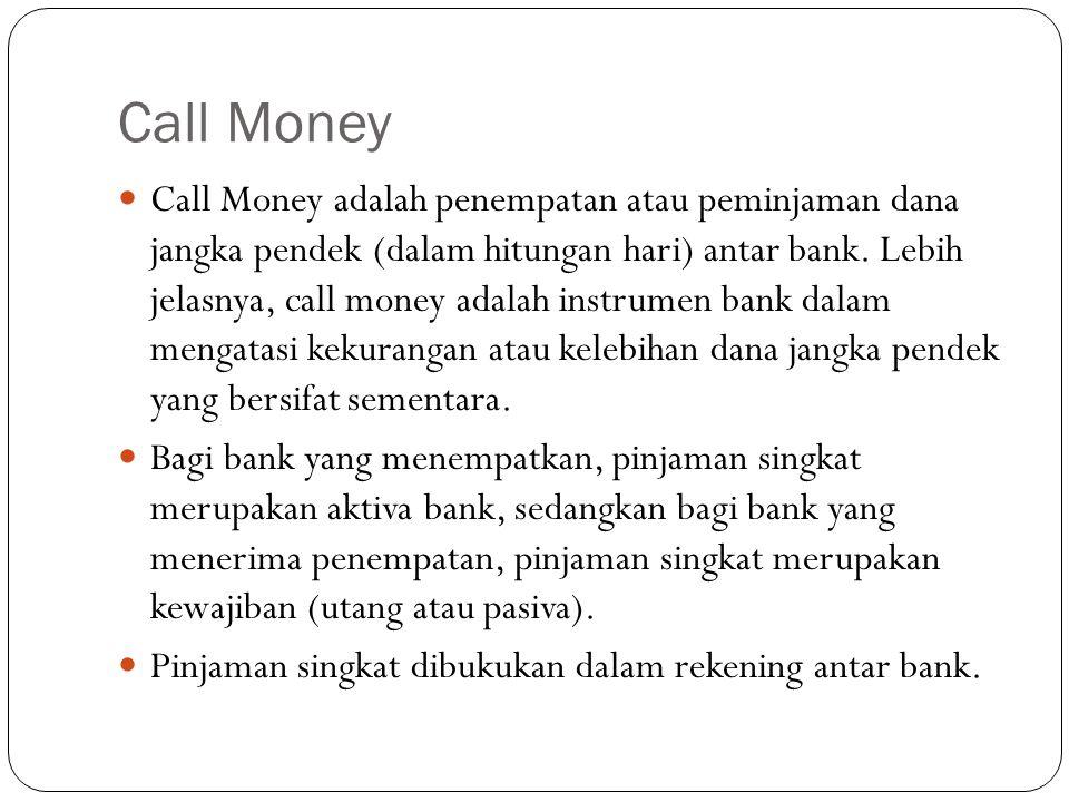 Call Money Call Money adalah penempatan atau peminjaman dana jangka pendek (dalam hitungan hari) antar bank.