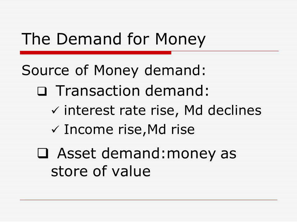 The Demand for Money Source of Money demand:  Transaction demand: interest rate rise, Md declines Income rise,Md rise  Asset demand:money as store of value