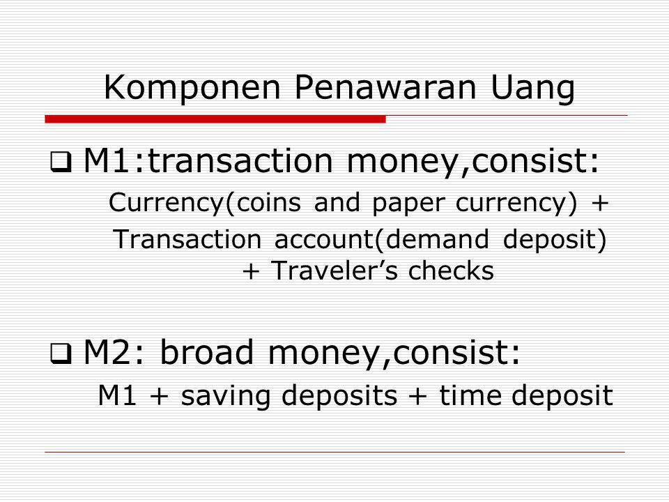 Komponen Penawaran Uang  M1:transaction money,consist: Currency(coins and paper currency) + Transaction account(demand deposit) + Traveler's checks  M2: broad money,consist: M1 + saving deposits + time deposit