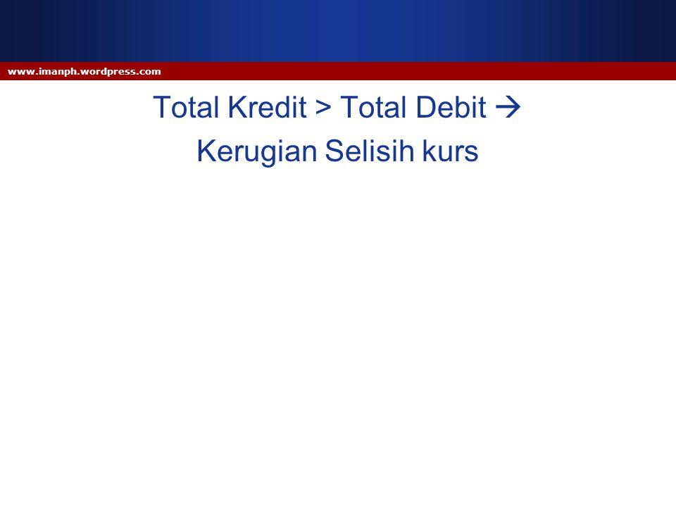 www.imanph.wordpress.com Total Kredit > Total Debit  Kerugian Selisih kurs