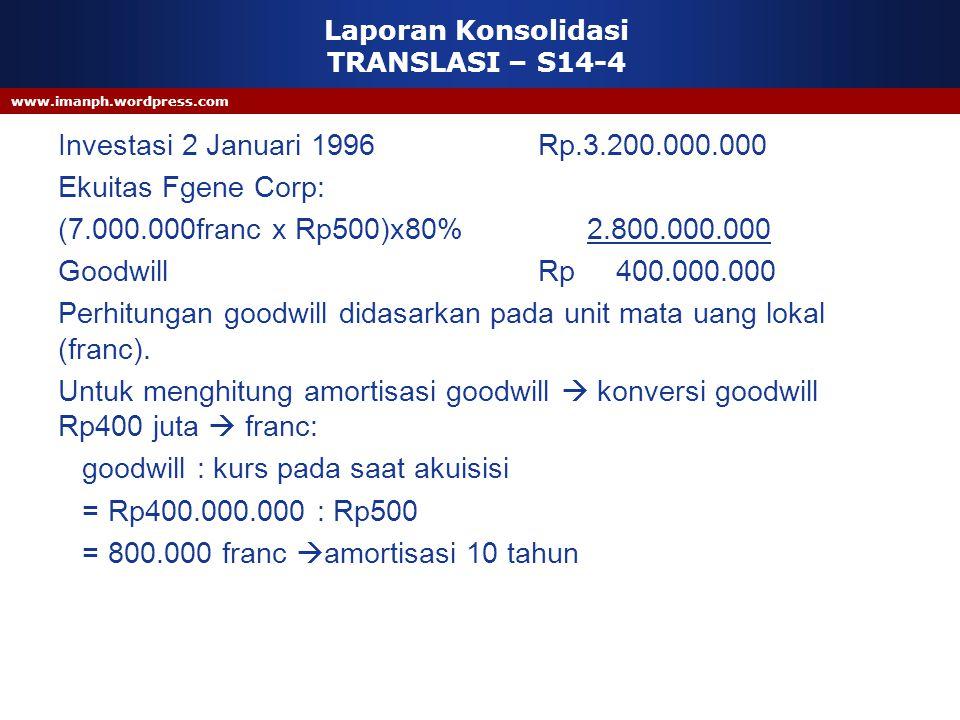 www.imanph.wordpress.com Laporan Konsolidasi TRANSLASI – S14-4 Investasi 2 Januari 1996 Rp.3.200.000.000 Ekuitas Fgene Corp: (7.000.000franc x Rp500)x
