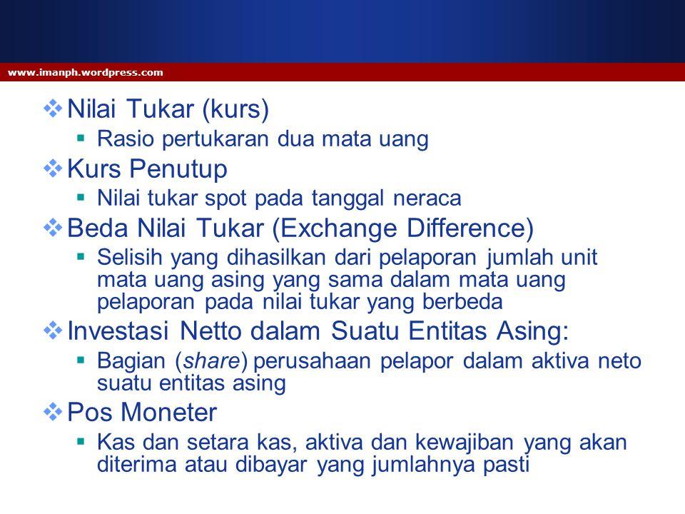 www.imanph.wordpress.com  Nilai Tukar (kurs)  Rasio pertukaran dua mata uang  Kurs Penutup  Nilai tukar spot pada tanggal neraca  Beda Nilai Tuka