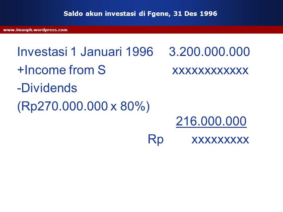 www.imanph.wordpress.com Saldo akun investasi di Fgene, 31 Des 1996 Investasi 1 Januari 1996 3.200.000.000 +Income from S xxxxxxxxxxxx -Dividends (Rp2