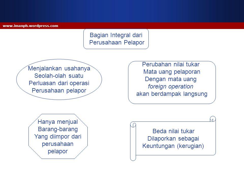 www.imanph.wordpress.com Bagian Integral dari Perusahaan Pelapor Menjalankan usahanya Seolah-olah suatu Perluasan dari operasi Perusahaan pelapor Hany