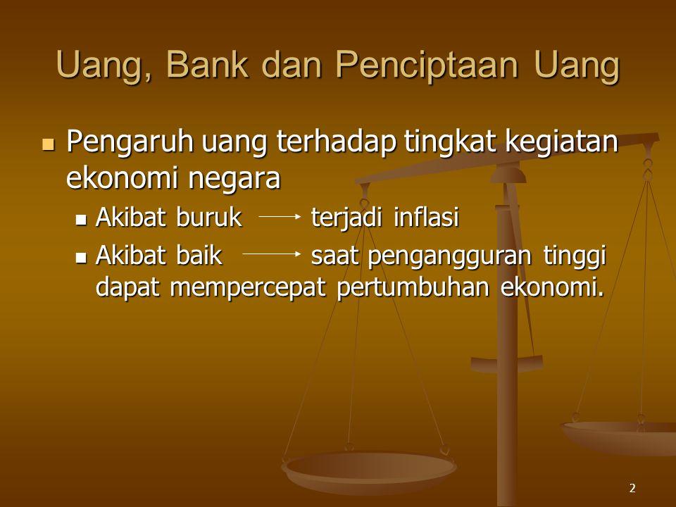 2 Uang, Bank dan Penciptaan Uang Pengaruh uang terhadap tingkat kegiatan ekonomi negara Pengaruh uang terhadap tingkat kegiatan ekonomi negara Akibat