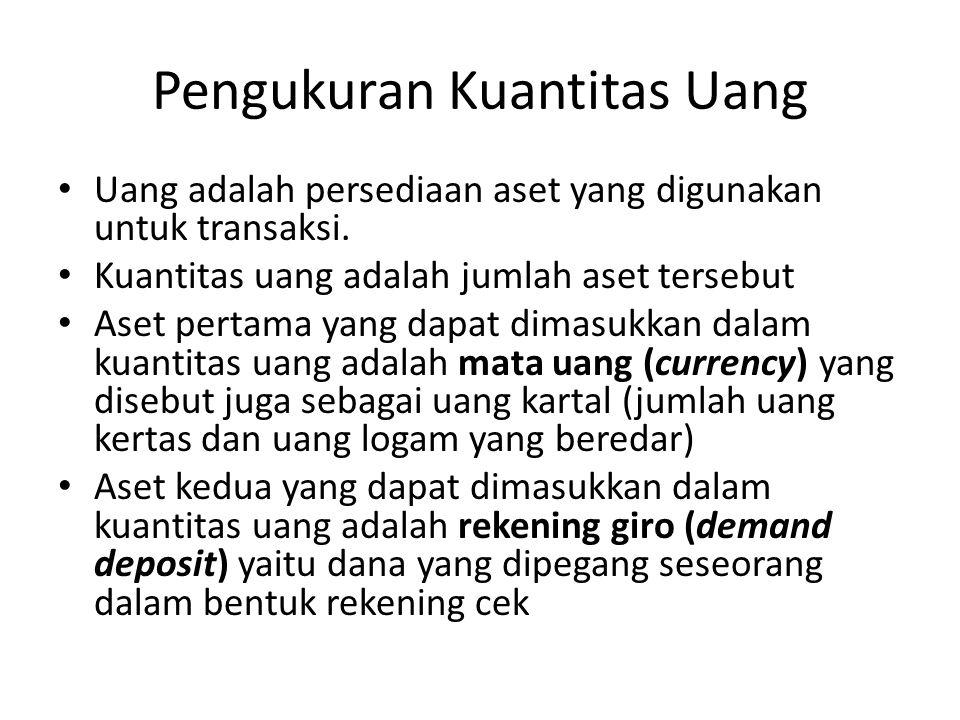 Teori Kuantitas Uang Persamaan kuantitas (quantity account) M x V = P x T M = uang V = Perputaran P = harga T = transaksi